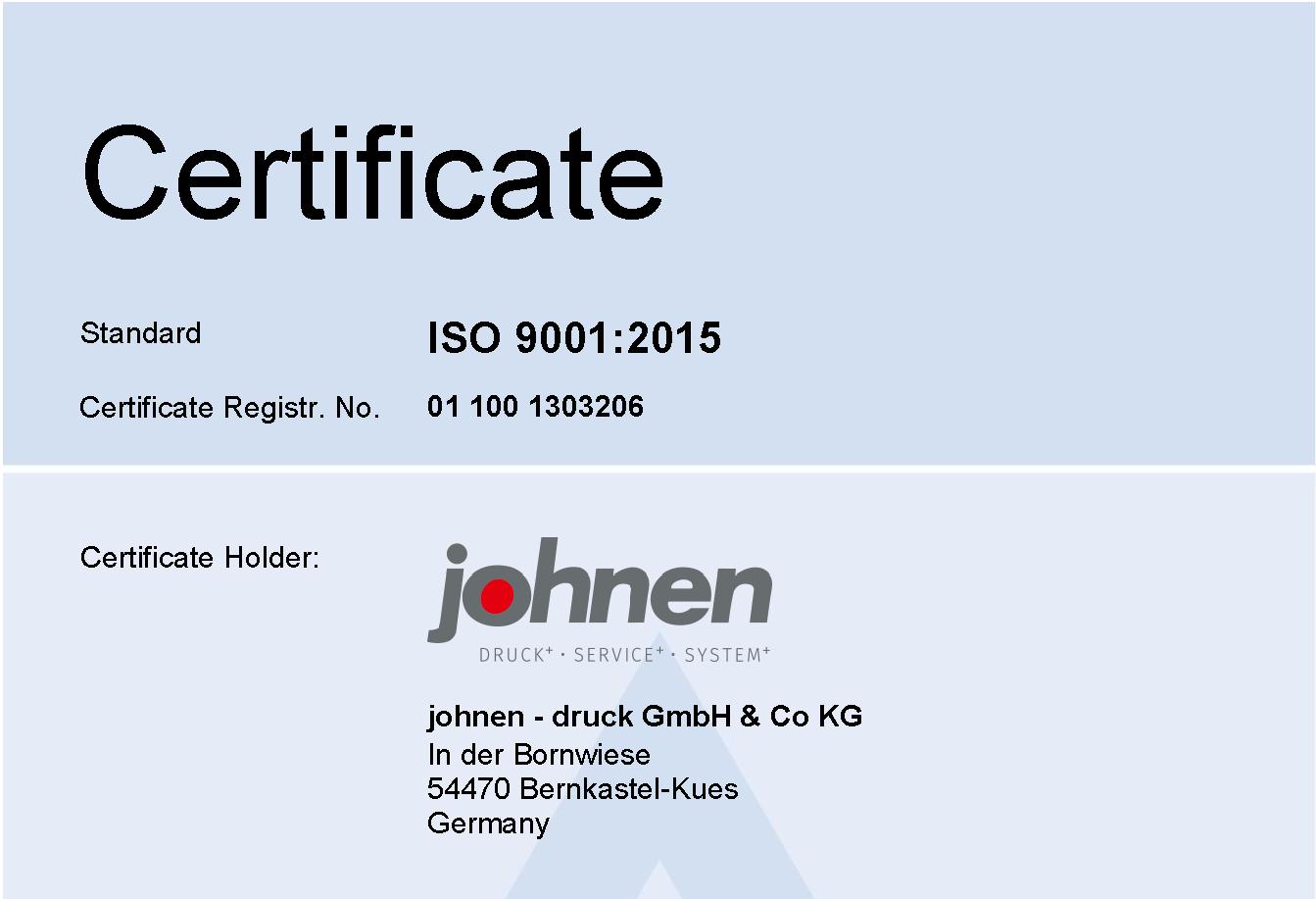 Wir sind DIN EN ISO 9001:2015 zertifiziert.